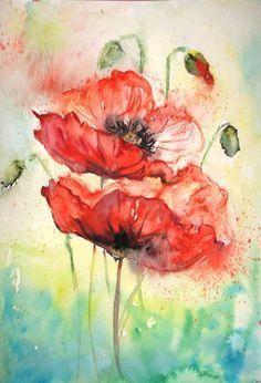 Aquarell Watercolor Print, Watercolor Pencils, Easy Watercolor, Watercolour Painting, Watercolor Flowers, Poppies Painting, Watercolor Tattoo, Watercolors, Water Paint Flowers