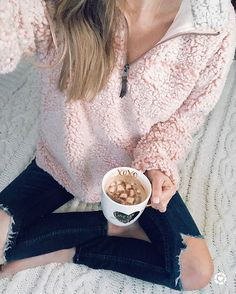 Surround yourself with what makes you happy! For me it's this sweatshirt and hot chocolate- yes- inanimate objects. Thanks for being a part of the Sunset Squad! ❤️ http://liketk.it/2u0ao @liketoknow.it #liketkit #LTKunder100 #LTKunder50