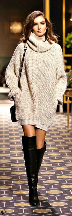 Shop this look on Lookastic: https://lookastic.com/women/looks/beige-knit-sweater-dress-black-leather-over-the-knee-boots-black-leather-crossbody-bag/8911 — Black Leather Over The Knee Boots — Black Leather Crossbody Bag — Beige Knit Sweater Dress