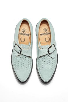 Fred Perry - Women's George Cox Perforated Creeper Silver Blue