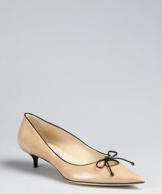 Jimmy Choo brown sugar patent leather pointed toe 'Ohia' kitten heels