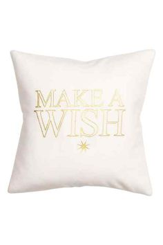 Cushion cover in woven fabric with a soft, brushed finish. Shimmery printed Christmas motif at front, and concealed zip. H&m Christmas, H&m Home, Shades Of Gold, Printed Cushions, White Home Decor, H&m Online, Room Accessories, White Houses, Make A Wish