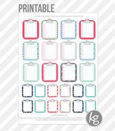 Clipboard Misc. PDF PRINTABLE Planner Stickers for Erin Condren Planner, Filofax, Plum Paper by KGPlanner on Etsy https://www.etsy.com/listing/225995383/clipboard-misc-pdf-printable-planner