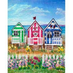 Hand Embroidery Kit Beach houses Decorative stitch Needlepoint Needlework Stitching DIY Instructions in Russian Beach Huts Art, Beach Art, Seaside Art, Coastal Art, Gouache Painting, Watercolor Paintings, Watercolours, Wal Art, Art Impressions
