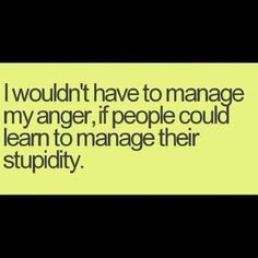 I wouldn't have to manage my anger, if people could learn to manage their stupidity!