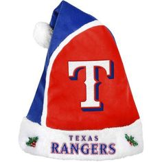Forever Collectibles MLB 2015 Santa Hat, Texas Rangers, Size: 17 inch, Blue