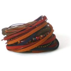 boho leather wrap bracelet ribbon suede beads red by jcudesigns, £20.00