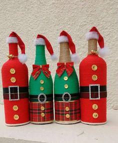 Garrafas natalinas #decoratedwinebottles