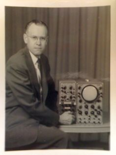 Ben F. Laposky with his oscilloscope