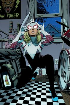 Spider-Gwen exclusive ComicXposure variant cover by Mike Mayhew * Hq Marvel, Marvel Girls, Comics Girls, Marvel Dc Comics, Marvel Heroes, Marvel Characters, Spiderman Art, Amazing Spiderman, Miles Spiderman