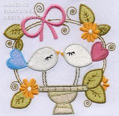 "This free embroidery design is called ""Amazing Birds""."