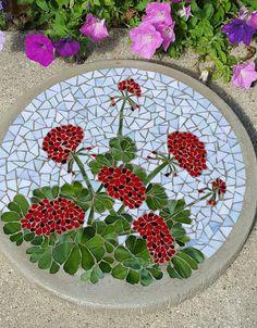 "16"" Geranium mosaic stepping stone"