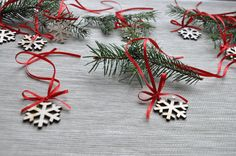Set of 10 wooden snowflakes wood Christmas decor by AgaArtFactory