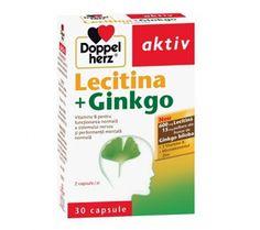 Doppelherz aktiv Lecitina + Ginkgo      - Lecitina - 600 mg  - frunze de Ginkgo biloba - 15 mg pulbere  - Vitamine B pentru performanta mentala si functionarea normala a siste...