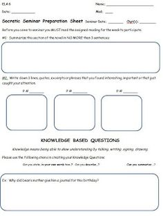 Collection Socratic Seminar Worksheet Photos - Studioxcess