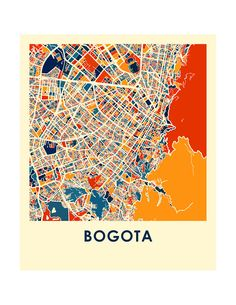 Please consult our holiday schedule to make sure your order arrives on time for the occasion: https://ilikemaps.com/pages/holidays   Our Bogota map print illustrates the geography and patterns of this great metropolis.  This bold and colorful map print will fit your decor, for home or office.  The Bogota map is printed in high saturation ink on bright white gloss paper. Print size higher than 13x19 are printed on semi-gloss paper.  The data used to create this map comes fr...
