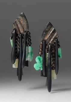 Monies UNIQUE Jade, Ebony & Horn Clip On Earrings | Santa Fe Dry Goods #monies #jewelry