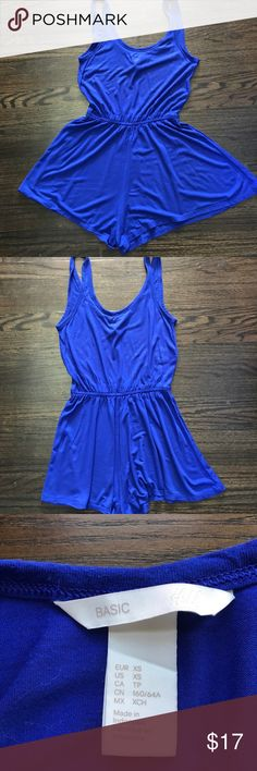 H&M cobalt blue romper Cobalt blue romper. The bottom is loose enough which makes this look like a dress with the assurance of shorts. H&M Tops