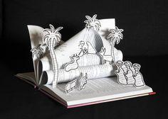 Crèche réalisée avec un livre - Décoration de Noël originale - Cadeau de Noël : Accessoires de maison par mariellejl