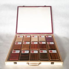 a wooden case from beech and amaranth with exotic and european wood samples