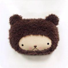 Plush Kawaii Teddy Bear Pillow in Dark Chocolate door bijoukitty