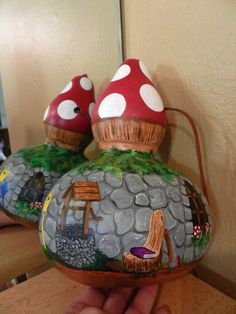 Gnome Home Handpainted Birdhouse Gourd