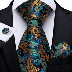 Silk Tie Set Color: Gold Blue Teal Length, Width Matching cufflinks and pocket square Gold Fashion, Mens Fashion, Luxury Fashion, Luxury Ties, Wedding Ties, Party Wedding, Wedding Bands, Paisley Tie, Cufflink Set