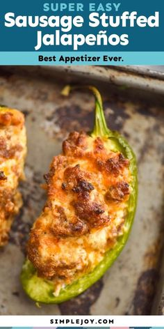 These Sausage Stuffed Jalapeños are the perfect easy appetizer. Something your guests will love! Great Appetizers, Potluck Recipes, Healthy Salad Recipes, Cooking Recipes, Potluck Meals, Desserts, Sausage Stuffed Jalapenos, Stuffed Peppers, Dessert
