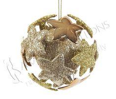 ADDOBBI E PALLINE NATALIZIE, Pallina dorata glitterata con stelle 3D, NATALE - Christmas Store