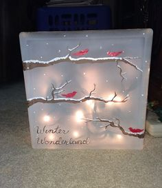 Arts And Crafts Furniture Painted Glass Blocks, Lighted Glass Blocks, Hand Painted, Lighted Canvas, Christmas Art, Christmas Projects, Christmas Decorations, Winter Wonderland Lights, Glass Block Crafts