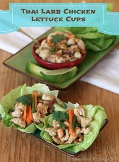 Thai Larb Chicken Lettuce Cups feature warm chicken stir-fried with fish sauce, spicy fresh chiles & lime juice on top of cold, crisp lettuce. Easy modifications for Paleo. Turkey Recipes, Paleo Recipes, Asian Recipes, Chicken Recipes, Low Carb Dinner Recipes, Delicious Dinner Recipes, Appetizer Recipes, Appetizers, Healthy Cooking