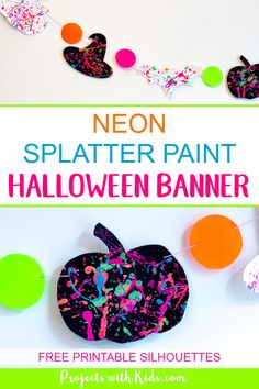 Go neon this Halloween and brighten up your Halloween decor with this neon splatter paint halloween banner with free printables! This is an easy and fun process art activity that kids of all ages will love. Fun Halloween Games, Halloween Activities For Kids, Fun Projects For Kids, Halloween Party Supplies, Halloween Banner, Halloween Kids, Halloween Decorations, Art For Kids, Kids Crafts