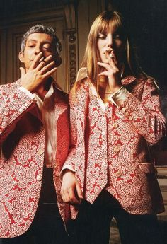 Jane Birkin & Serge Gainsbourg matching batik pattern jacket