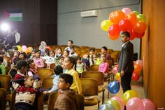 GAZA CITY, GAZA- Palestinian children gather at Rashad al-Sevval centre to attend an event organised by Hope for Orphans Institute with the support of Ministry of Social Affairs as part of the Arab Orphans Day in Gaza