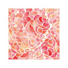 Abstract Peony Watercolor by Catherine Fitzpatrick for Minted Great coral color might be nice in daughter's room.
