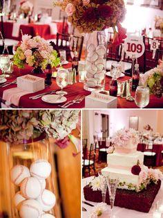 baseball wedding plus add some softballs in there = my dream wedding! Wedding Bells, Wedding Events, Wedding Reception, Our Wedding, Dream Wedding, Sports Wedding, Wedding Stuff, Themed Weddings, Reception Ideas
