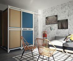 Mini appartamenti: 40 mq in città. Juan Les Pins. L'intervento degli architetti UdA è ispirato al clima spensierato della vita al mare, evocato grazie a un sistema di pareti mobili che ricordano le cabanes delle spiagge francesi.