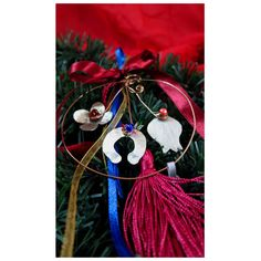 Wire circle with handmade elements, symbols of luck. Home decor. Handmade Christmas by UniqueJeweleryDeco on Etsy Christmas Tree Decorations, Holiday Decor, Handmade Christmas, Wire, Symbols, Unique Jewelry, Handmade Gifts, Etsy, Home Decor