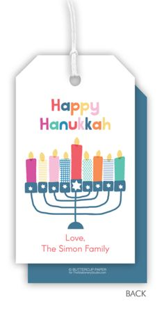 Personalized Colorful Happy Hanukkah Hanging Gift Tags