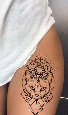 Tribal Linework Outline Egyptian Cat Thigh Tattoo Ideas for Women - Boho Ethnic Geometric Sacred Mandala Leg Tat - www.MyBodiArt.com #tattoos