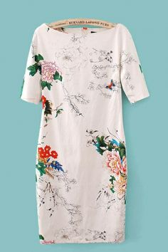 Floral Printing Short Sleeves Vintage Dress - 6KS for $30.99