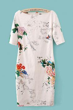 Floral Printing Short Sleeves Vintage Dress - 6KS for $30.99
