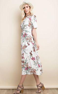 Sona Bella Floral Midi Dress