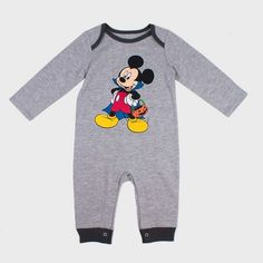 ec2ca2f0b Baby Boys' Disney Mickey Mouse & Friends Mickey Mouse Long Sleeve  Romper - Gray
