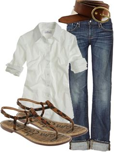 """Untitled"" by my4boys on Polyvore.  I love everything, but change the sandal print to a solid color and I'm good!"