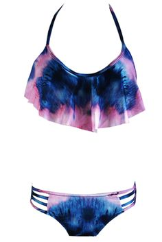 Women Multi Print Side Cut-out Halter Two Piece Swimsuit.Check more from www.oasap.com .