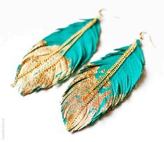 Feather Earrings - Leather Feather Jewelry - Dipped in Gold - Turquoise Leather  #feather #earring http://www.loveitsomuch.com/