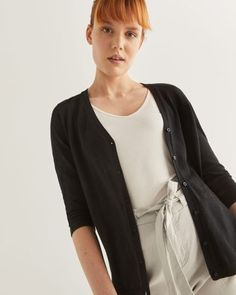 Shop online for R Essentials Sleeve Cotton Cardigan. Find Tops, Clothing and more at Reitmans Cotton Cardigan, Cardigans For Women, Casual Tops, Essentials, V Neck, Sleeves, Sweaters, Outfits, Black
