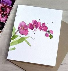 Items similar to Cherry Blossom, set of 4 on Etsy Watercolor Painting Techniques, Watercolor Projects, Watercolor Cards, Watercolour Painting, Floral Watercolor, Painting & Drawing, Watercolors, Simple Watercolor Flowers, Paint Cards