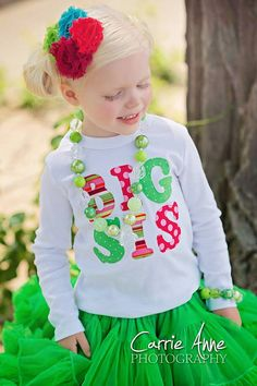Big Sister or Little Sister / Big Sis or Lil Sis Baby Announcement Girl's Shirt